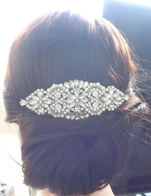 Vintage Bridal Wedding Pearls Rhinestones Crystal Silver Hair Comb Headpiece NEW