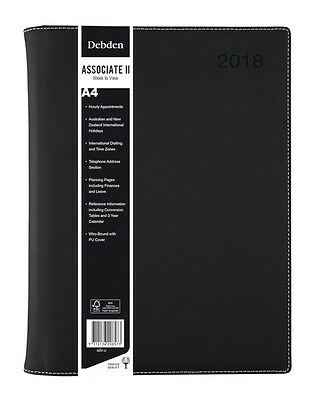 Diary 2018 Debden Associate II Black A4 Week to View 4251