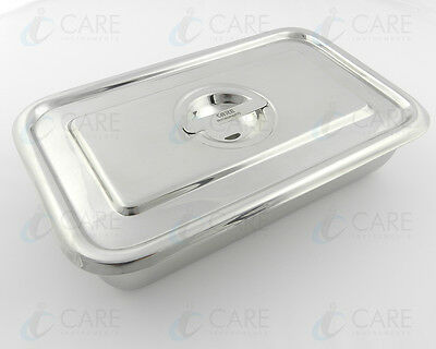 Surgical Instruments Tray with Cover 23.5cm 14.5cm x 5cm Dental Stainless Steel