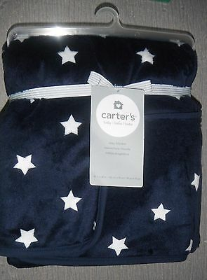 Brand NEW Carter's Baby Cozy Fleece Sherpa Blanket Plush Navy Star 30 X 40
