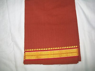 INDIAN  COTTON COLOUR DHOTI  LUNGI MUNDU SARONG WITH FANCY BORDER - 2 mtr.