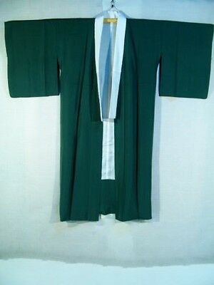 Vintage Japanese Forest Green Silk Nagajuban/Under Kimono/Robe Fully Lined M/L