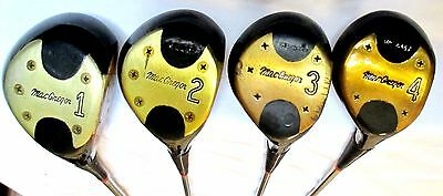 Vintage 1967 MacGregor W25MT MT Tourney Persimmon Wood Set 1 2 3 4 Black 5 Screw