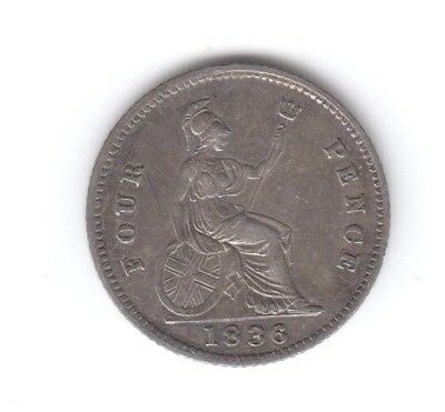 1836 William IV Silver Fourpence / Groat  beautiful