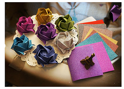 2Packs = 24Sheets ORIGAMI Square Glitter Craft Paper x 6 Different Color