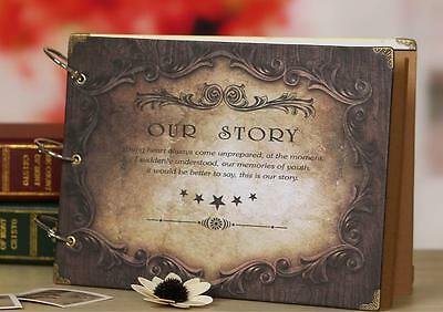"DIY 27 x 19cm 30pages 3 Rings ""Our Story"" Kraft Scrapbook Album DIY Decor"