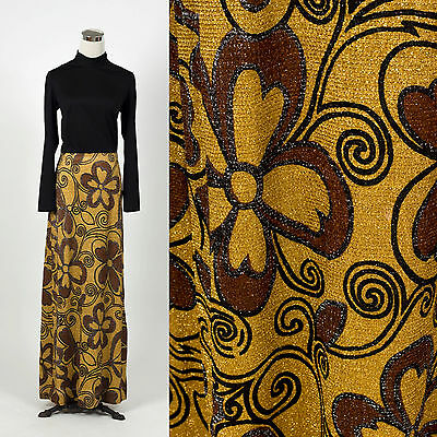 Vintage 1960s 1970s gold lurex glitter maxi dress RETRO PYSCH DISCO HOSTESS