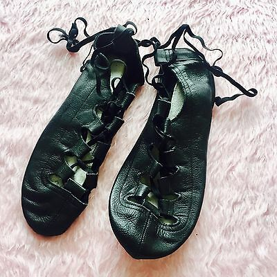 Black Leather Ballet Lace Up Flat Shoes Dance Jazz Womens Jiffies Size 8