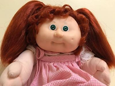 Vintage Cabbage Patch Doll Red Corn Silk Hair Green Eyes Original Dress + Shoes
