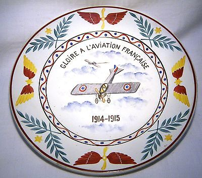 """Choisy Le Roi  Ww1 Hand Painted 9"""" Plate  French Army/ Airforce  1914-1915"""