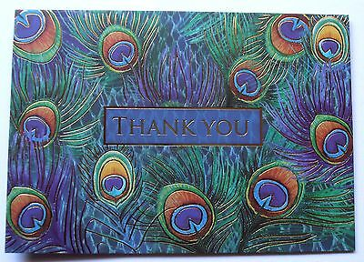 3 Punch Studio Peacock Thank You Cards Envelopes Feathers Gold Foil Teal Purple