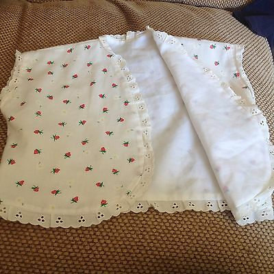 Hand Made White Strawberry Waistcoat Trimmed with Lace Age 2-3 years