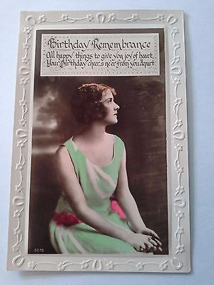 Vintage birthday card postcard photo of young lady colorised