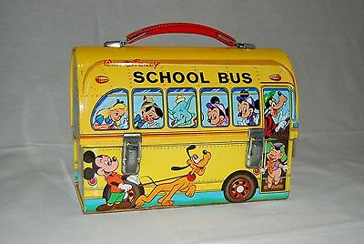 1970 Disney School Bus Metal Lunch Box DOME Lunchbox PAYVA EXTREMELY RARE
