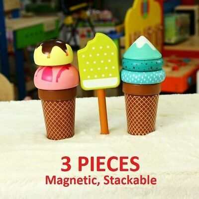 Wooden Magnetic Magnet Ice Cream Play Set Toy Kids Food Pretend Play Kitchen