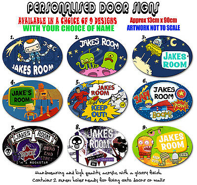 Personalised Name Boys Bedroom Door Sign Childrens Cermic Oval 13cm x 90cm kids
