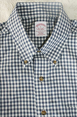 Brooks Brothers Men's Long Sleeve Blue Check Regular Fit Dress Shirt Size L