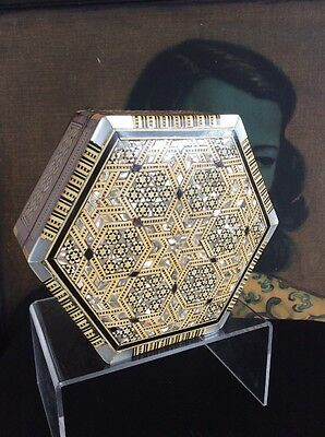 Vintage Box Wood Mother Of Pearl Inlay Mosaic Work Egyptian Hexagonal Large
