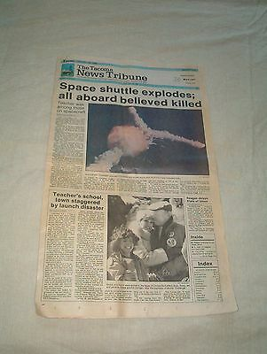 Challenger Space Shuttle Explosion--Newspaper Front Page + Entire First Section