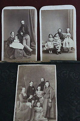 3 X Original Antique Family Photos CDV Carte De Visite Mid – Late 1800s
