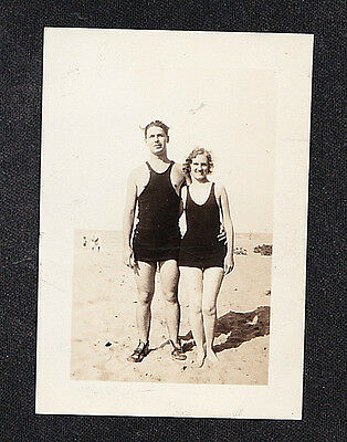 Vintage Antique Photograph Man & Woman on Beach in Old Time Bathing Suits