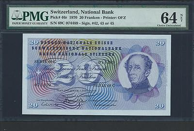 1970 Switzerland 20 Franken Pmg 64 Pick #46R Awesome Colors Please Lqqk !!!