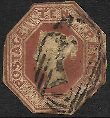 GB Queen Victoria 10d Brown Embossed S.G. 57 - Cut to shape. Cat value £1500.