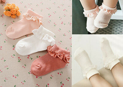 Baby Toddler Girls Frilly Cotton Loose Opening Fold Solid Socks-Upto 4 Years