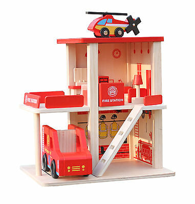 New Wooden Fire Station Parking Lot Garage Pretend Play Toy