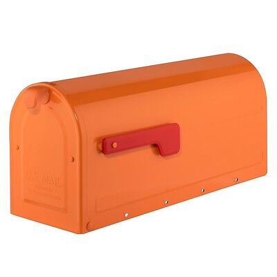 Mailbox Post Mount Steel Rust Free Orange with Red Flag