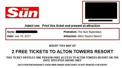 2x Alton Towers Tickets Monday 10/07/17- 10th July 2017