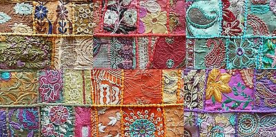 Table Runner Vintage Indian Khambadia Embroidery Patchwork Mosaic-100 x 30 cm
