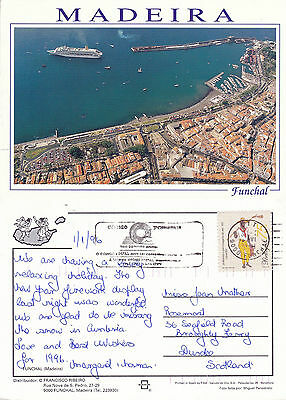 1996 Aerial View Of Funchal Madeira Portugal Colour Postcard