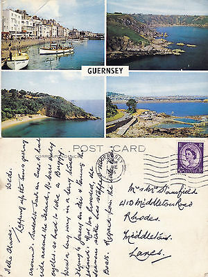1966 Multi Views Of Guernsey Channel Islands Colour Postcard