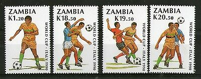 Zambia 1990 Italy Football World Cup Commemorative Set  Sg 612 - 615 Mnh