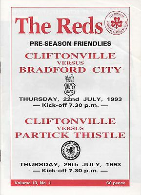 Jul 93 Cliftonville v Bradford City and Partick Thistle - double issue