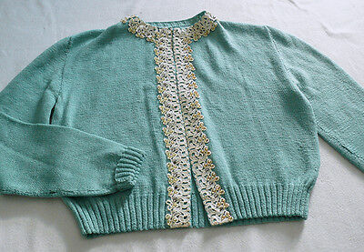 Light Green Vintage Cardigan with Lace and Beads Trim Size M