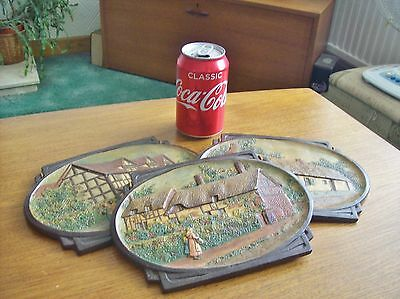 Set of 3 vintage BRETBY pottery wall plaque's, 1920's - 1930's ?