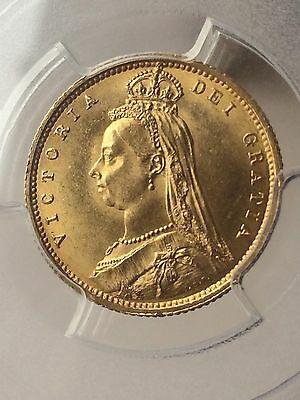 1887 Queen Victoria Jubilee Head Gold Half Sovereign Coin PCGS MS64 RARE Type!!
