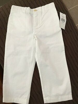 Bnwt Ralph Lauren Boys Unisex White Soft Cotton Trousers Age 24 Months