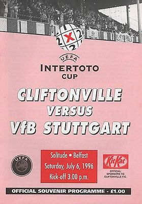 Jul 96 Cliftonville v VfB Stuttgart Intertoto Cup