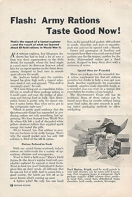 1951 Army Rations Taste Good Now ! Original Article