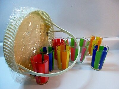 Vintage Jeannette Glass Garden Party Set Patio Caddy 6 Glasses Blue Red Yellow