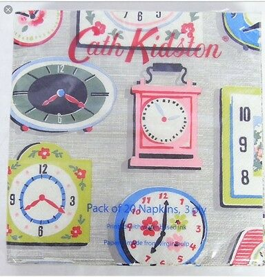 Cath Kidston Clocks Paper Napkins Pack Of 20