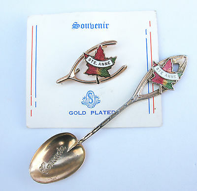 Lot Of 2 Vtg Saint Anne Canada Maple Leaf Souvenirs Wishbone Pin Spoon
