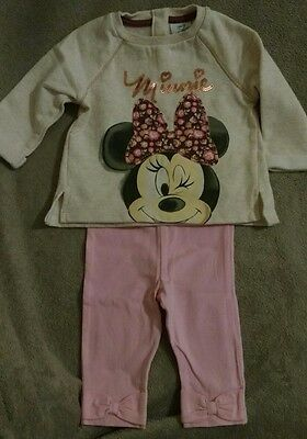 Disney Baby Girls Leggings Pants & Minnie Mouse Sweatshirt Top.3-6 Months