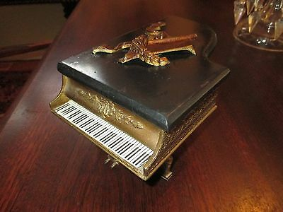 Antique HEAVY black marble gold spelter GRAND PIANO music theme cigarette box