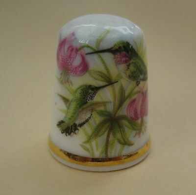 Vintage porcelain bird with flowers thimble, Victoria China, made in England