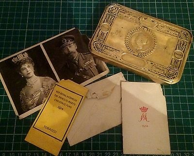 Genuine Ww1 Princess Mary Christmas Tin 1914 With Original Contents Lot 4