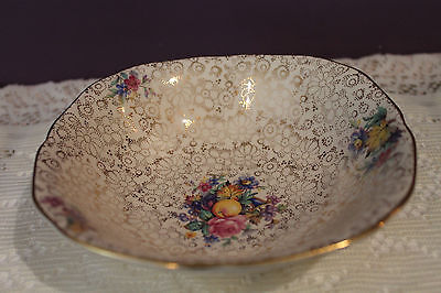 H&k  China England Chintz Soup / Cereal Bowl - Fruit / Flower Pattern